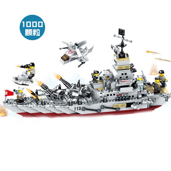 Military warship building blocks cruiser assembling children small particles DIY toy boy gift