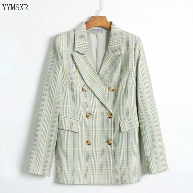 Casual women's plaid jacket feminine 2020 new spring and autumn fashion double-breasted ladies blazer coat Women's small suit