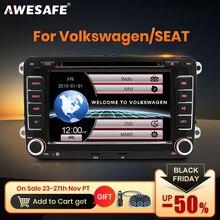 AWESAFE 2 الدين 7 بوصة مشغل أسطوانات للسيارة راديو GPS لاعب ل Volkswagen VW golf 5 6 توران باسات B6 B7 شاران جاتا سكودا مقعد Autoradio