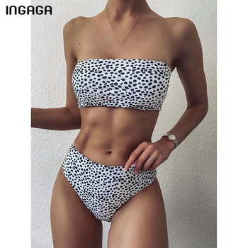 INGAGA High Waist Bikinis Swimsuit Female Swimwear Women Bandeau Biquini Leopard Bathing Suits 2021 New Two-pieces Bikini Set