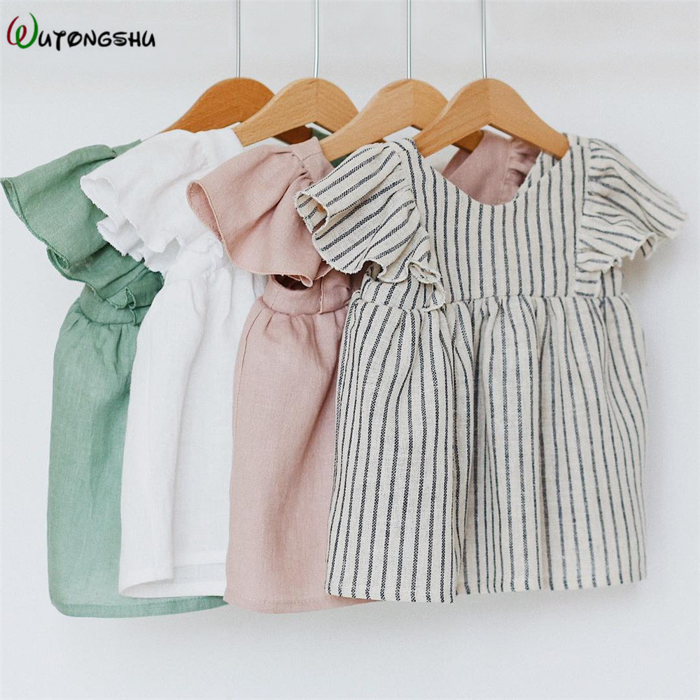 Linen Baby Dresses Summer Girls Clothes Princess Dress 1st Birthday Party Dress For Girl Cute Infant Toddler Girls Clothing