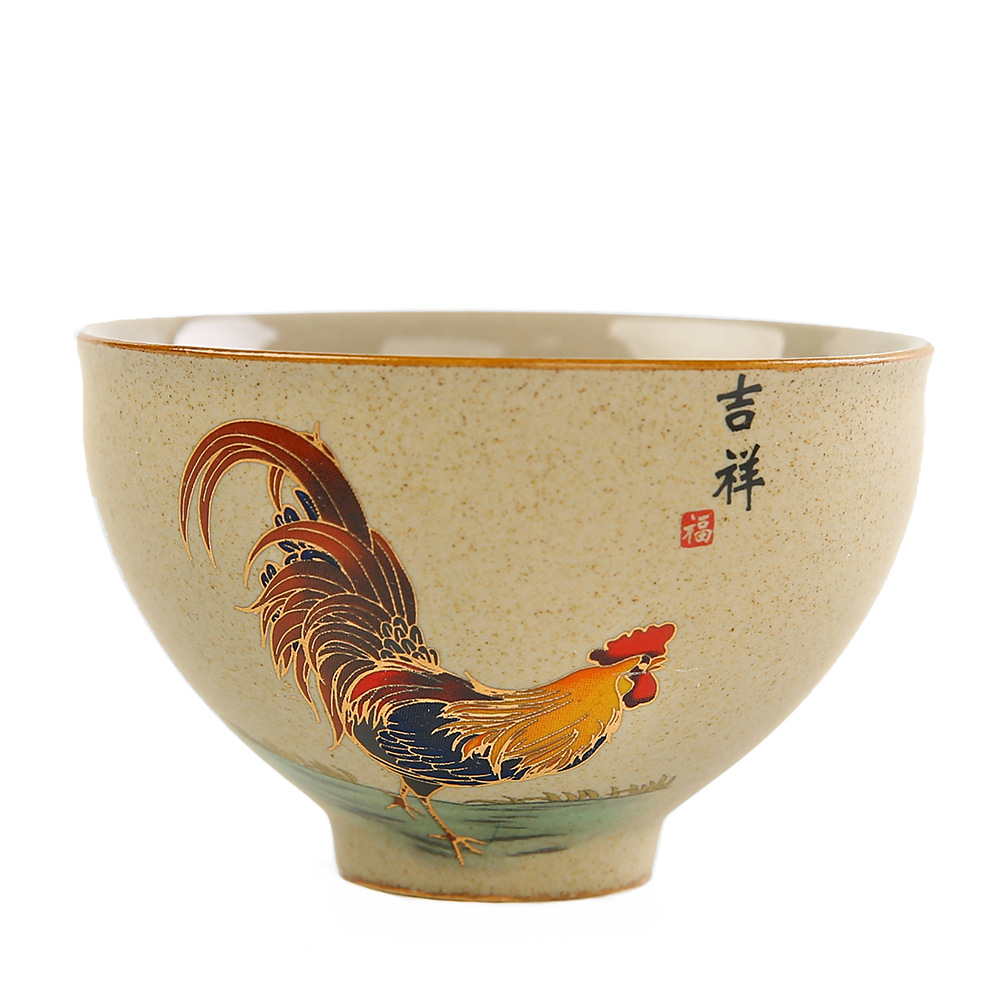 Mutton-fat Jade Teacup Golden Cock Cup Chinese Style Tasing Tea Cup