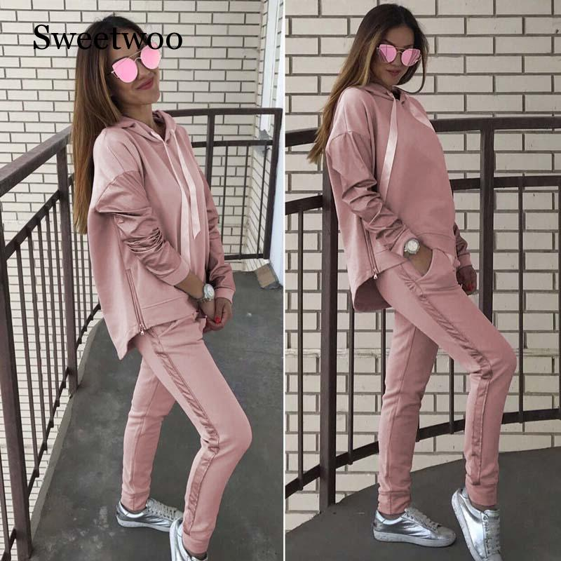 Tracksuit Female Long Sleeve Hooded Tops Pants Set Suits Fitness Women's Tracksuits Hoodies Sweatshirt+Sweatpants 2 Pieces Sets