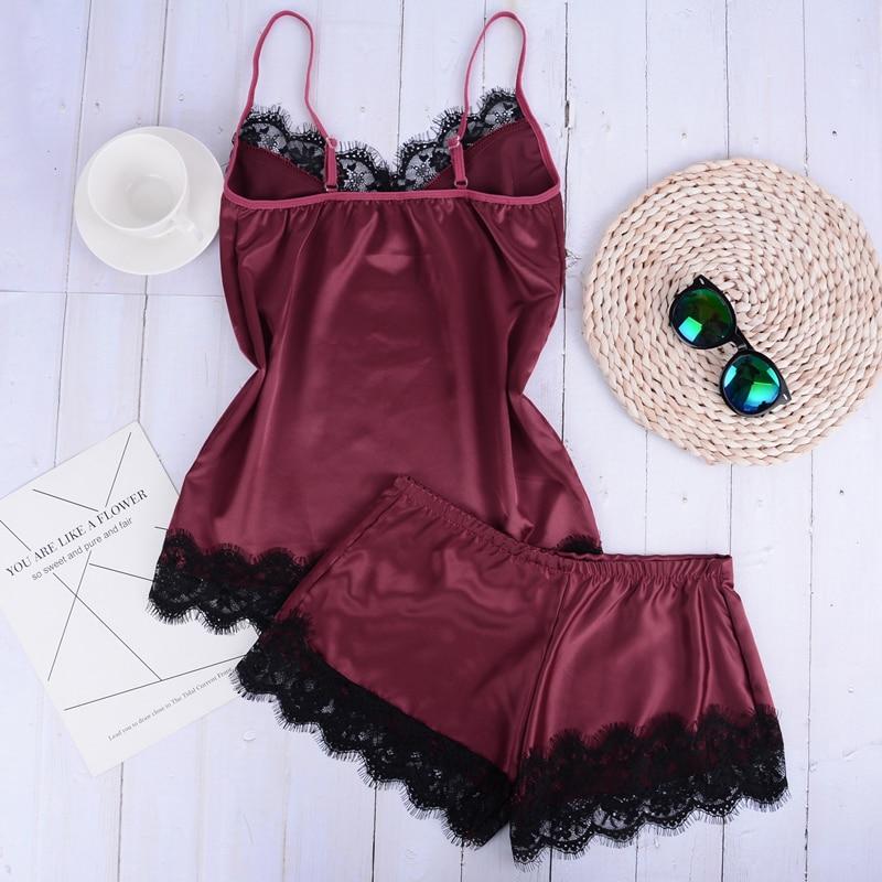 Separate 2pcs Lace Sleepwear Women Beach Dress Lingerie Night Short Sleeveless Ladies Satin Nightgown Through La Sleepwear 1