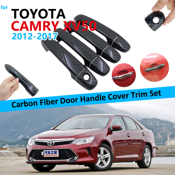 Carbon Fiber Door Handle Cover Trim Set for Toyota Camry XV50 Daihatsu Altis Aurion 2012~2017 Car Accessories Stickers 2015 2016 image