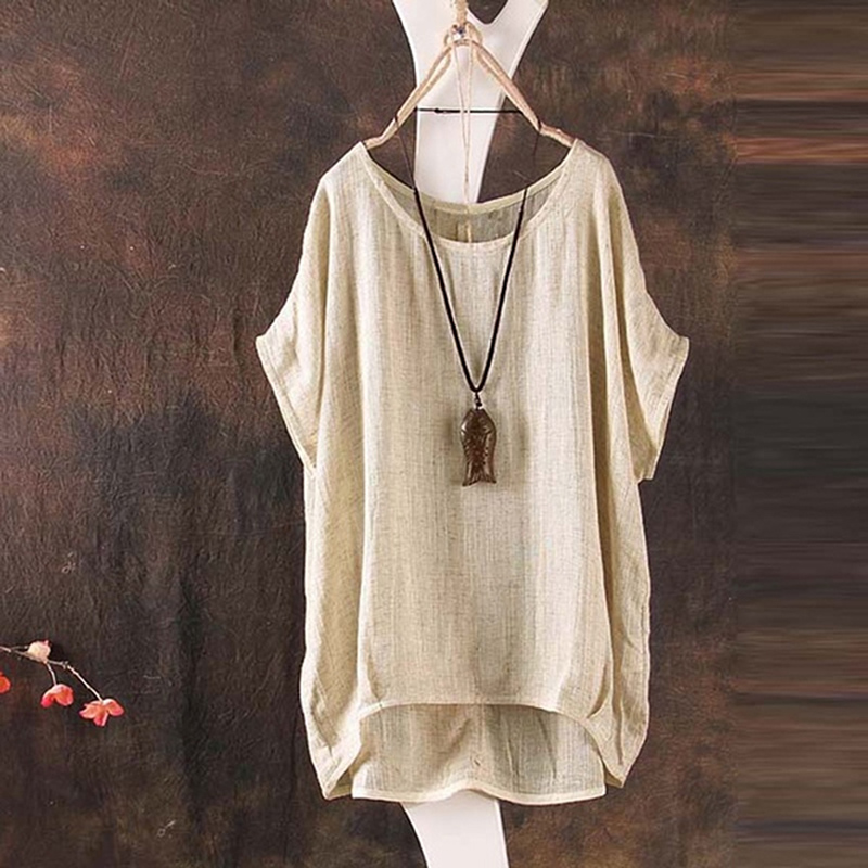 New Womens Summer Striped O Neck Blouses Loose Baggy Tops Cotton and Linen Down Tunic Shirts Plus Size