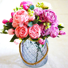Christmas Artificial Flower silk 1 Bunch French Rose Floral Bouquet Fake Arrange Table Daisy Wedding Flowers Decor Party
