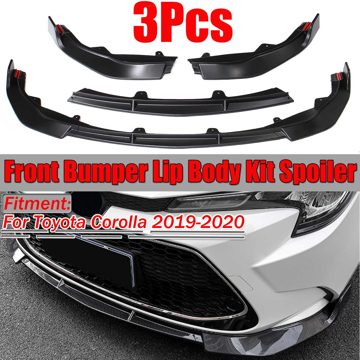For 2009 2010 Toyota Corolla S Style Front Lower Body Kit Bumper Lips Spoiler