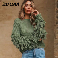 ZOGAA Knitted Winter Pullovers Sweaters Women Autumn Loose Tassels Sweater Jumper Female Solid Khaki Chic Sweater Korean Tops(China)