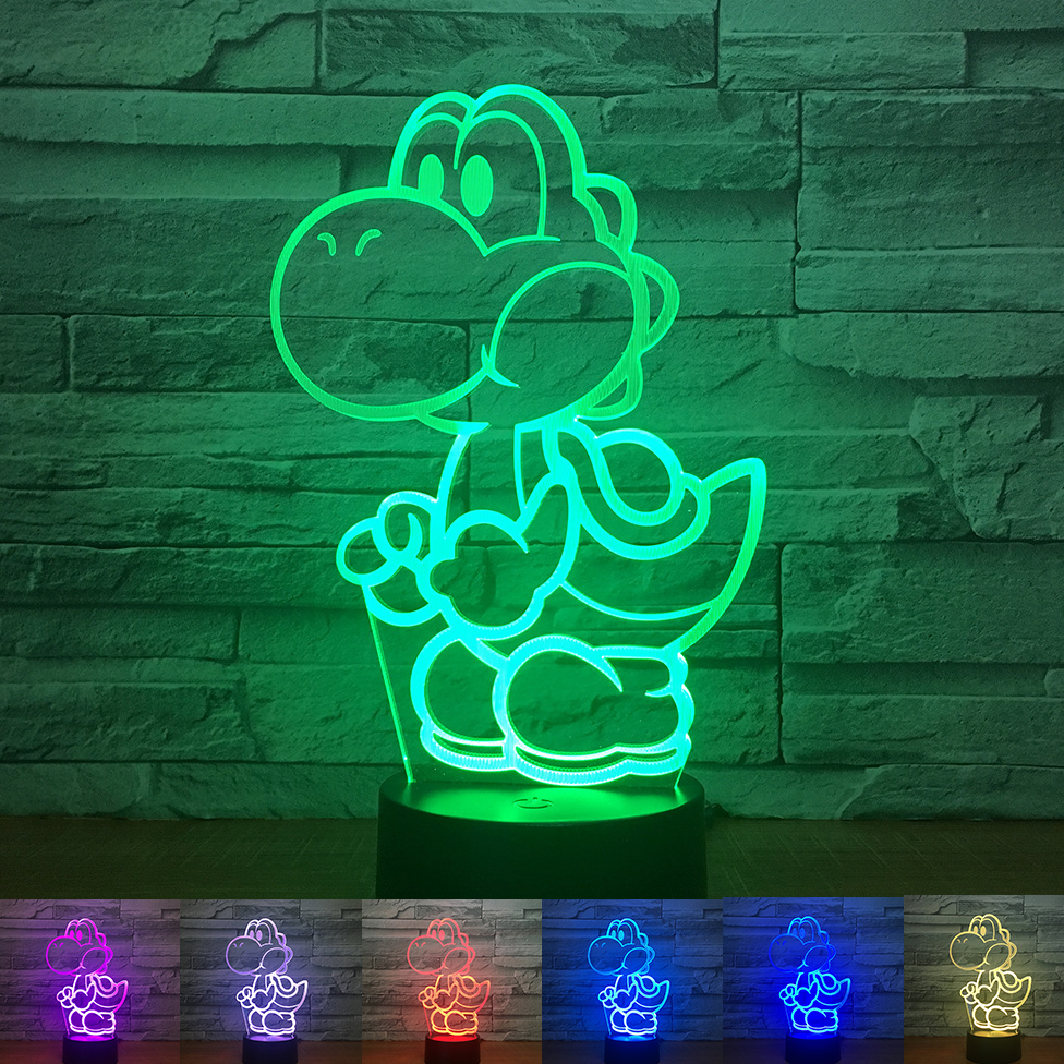 Super Mario 3D LED Night Light Luigi Yoshi 7 Color Changing Lamp Room Decoration Action Figure Toy For Christmas Gift Dropship