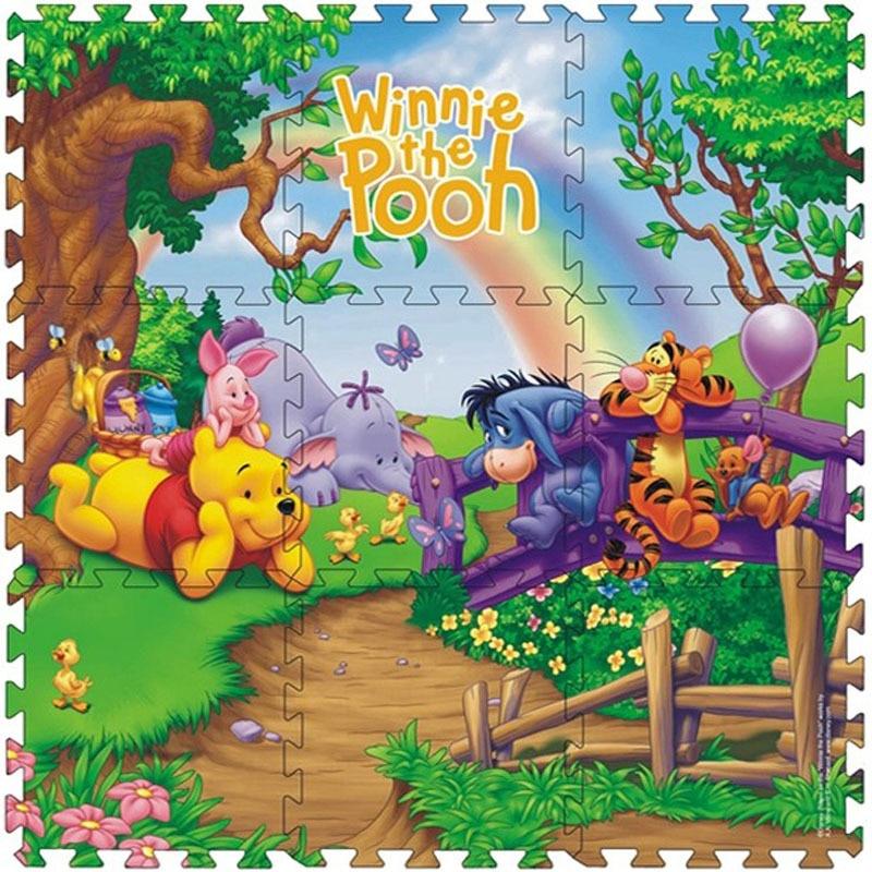 Disney 9pcs/pack Winnie The Pooh Foam Mat Mickey Minnie 30x30cm Per Piece  Baby Child Play Floor Mat  Game Carpet Crawling Mat