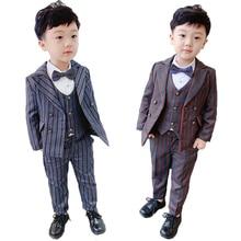Boys Formal Suit Set Children Striped Blazer Vest Trousers 3