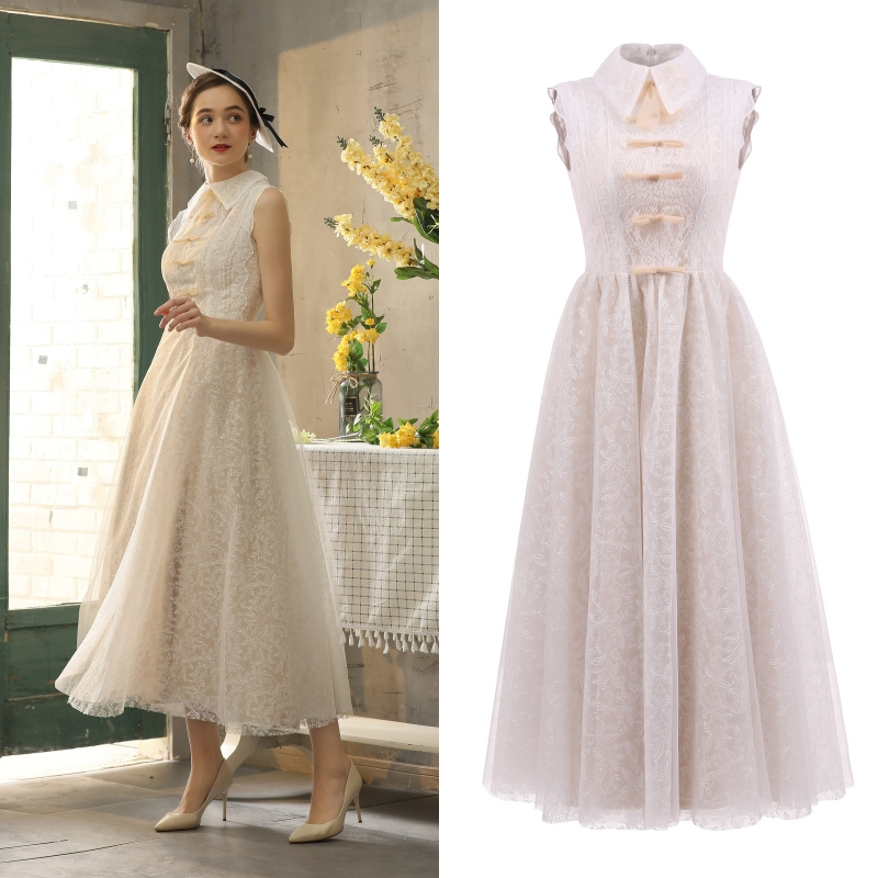 VINTEAGE Champagne Lining Lace Dress Tea Length Women Normal Daily One Piece Dress Bridal Gown Bridesmaid Dress Real Photo