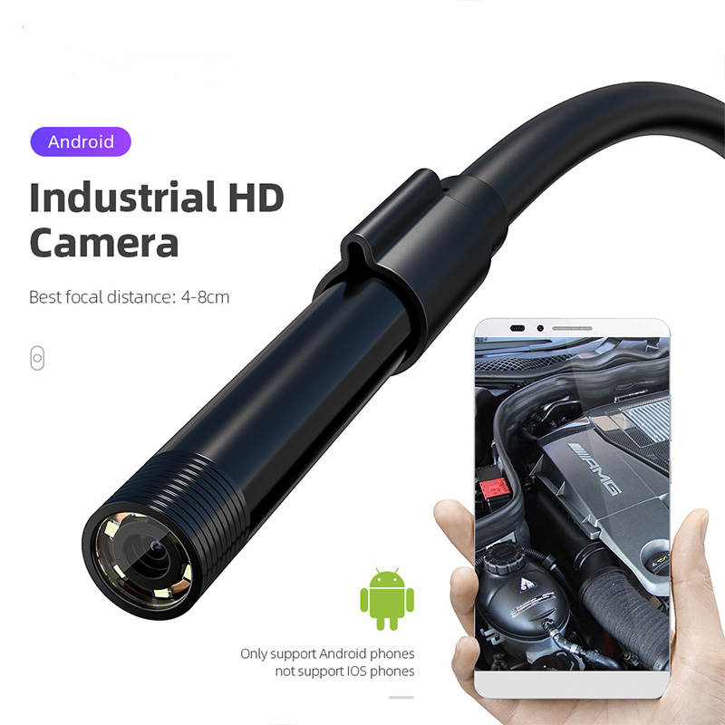 Car Accessories 1m 2 M 5 M Endoscope Camera 5.5mm 7mm IP67 Waterproof 6LEDs Adjustab Borescope Inspection OTG USB For Android/PC