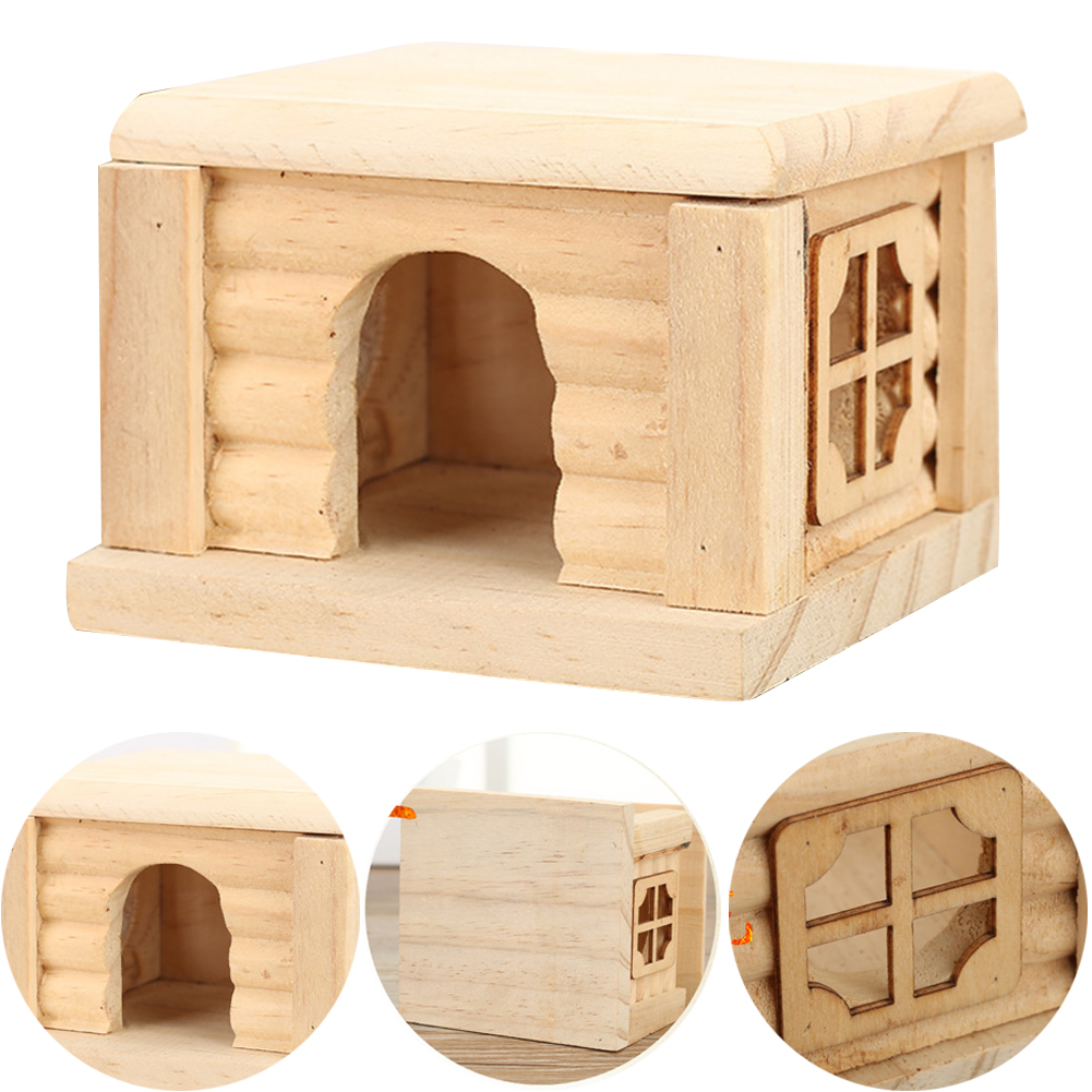 Easy Clean Wooden Cage Flat Top Eco-friendly Chew Toy Hamster House Nest Accessory Rat Pet Supplies Cabin Mouse Cute