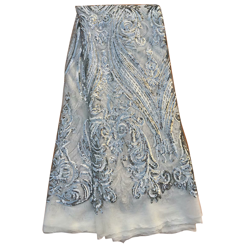 2020 African Lace Fabric Nigerian High Quality French Net Tulle Lace Fabric With Sequin Voile Tissu Evening Dress Tissu Dentelle