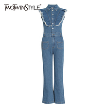 TWOTWINSTYL Casual Denim Jumpsuits Female Lapel Collar Sleeveless Patchwork Ruff