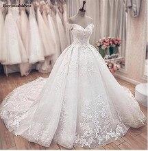 الأميرة الكرة ثوب فساتين زفاف دانتيل يزين الدانتيل يصل قبالة الكتف زي العرائس فستان عروس Vestido de Noiva رداء دي ماري