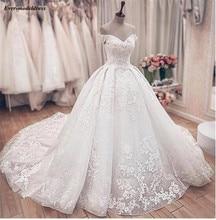 공주 볼 가운 웨딩 드레스 레이스 2020 아플리케 v 넥 레이스 업 숄더 브라 가운 Vestido de Noiva Robe De Mariee