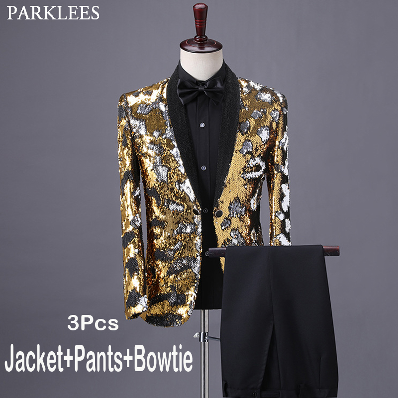 Shiny Gold Sequin Tuxedo Suit Male Shawl Collar Slim Fit Gliiter Dress Suits Mens Party Wedding Dinner Prom Terno Masculino 4XL