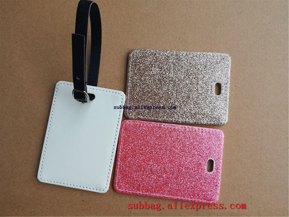 New Sublimation Blank Leather Glitter Luggage Tag Heart Transfer Printing Custom Luggage Tags Consumables 10pieces/lot