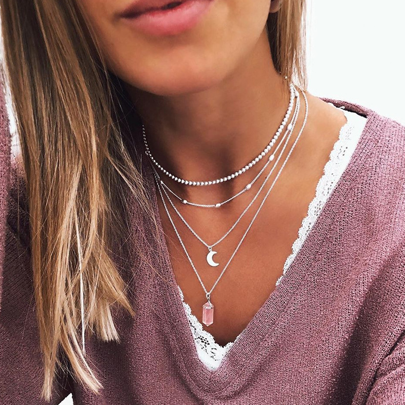Pink Crystal Moon Pendants Necklace for Women Beaded Choker Short Necklaces Female 2020 Fashion Jewelry Gold Silver Color Simple