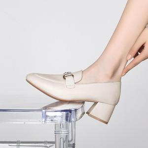 Image 2 - New Fashion Spring Autumn Women Pumps 2019 Beige Black PU Leather Shoes Office Lady Designer Fashion Casual Shoes