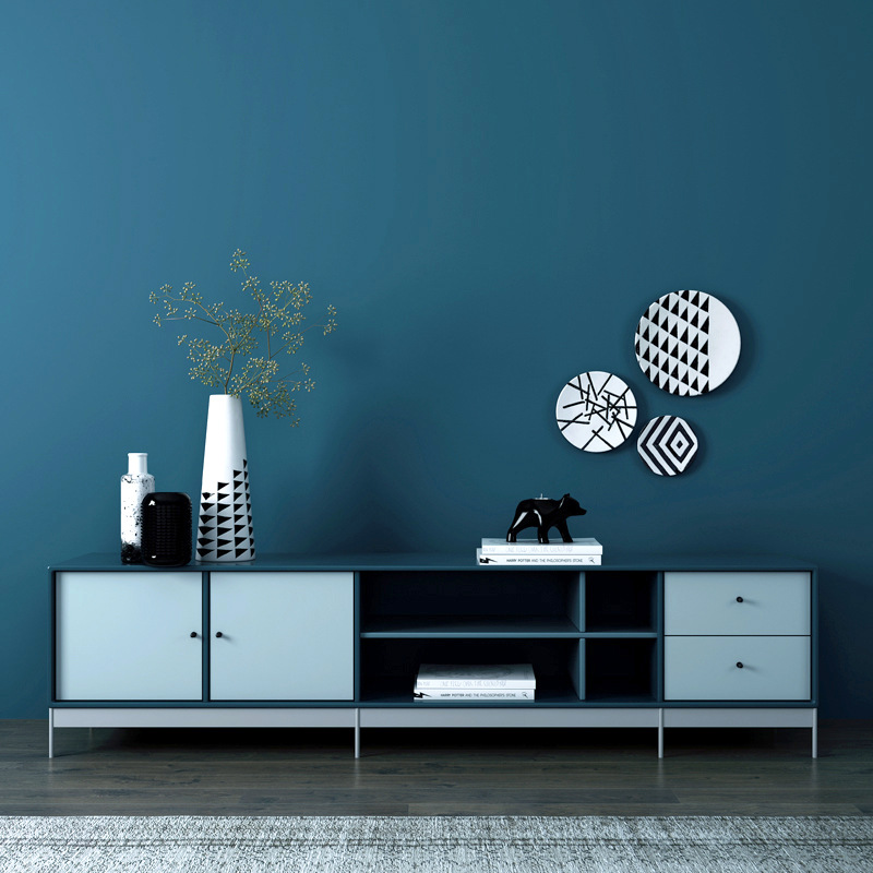 100*53cm Simple Solid Embossed Blue Wallpaper For DIY Modern Living Room Non-woven Wall Paper Wall Background Decoration