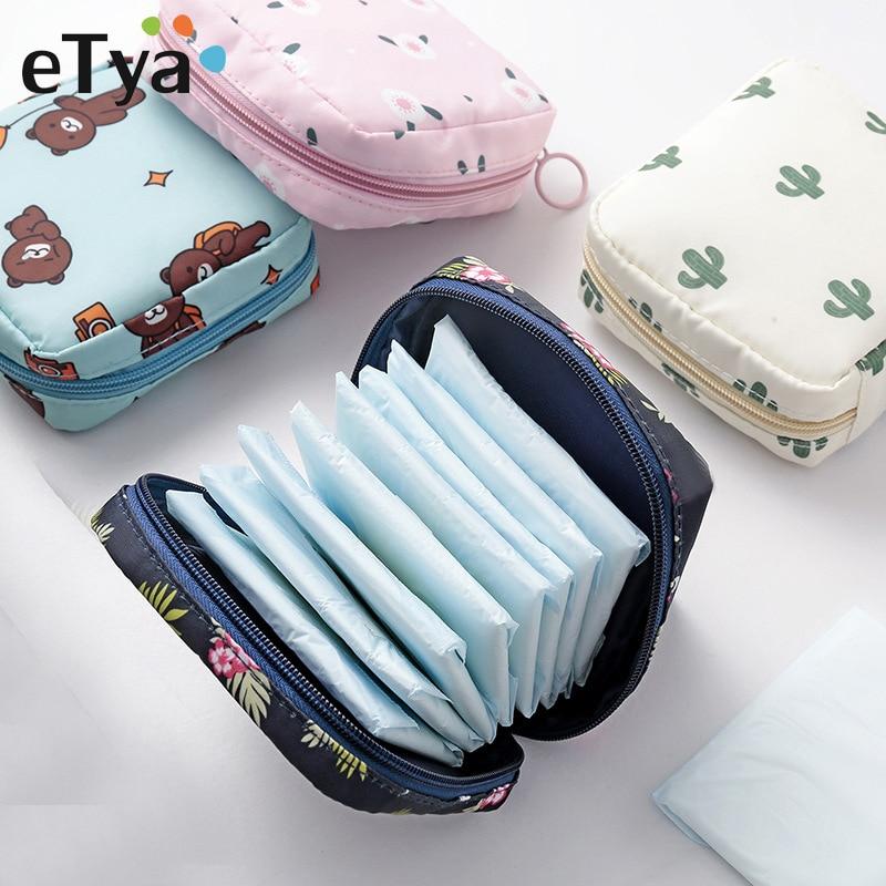 ETya Mini Women Cosmetic Bag Cactus Travel Toiletry Storage Bag Beauty Makeup Bags Cosmetics Organizer Zipper Make Up Case Pouch