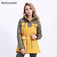 ROYALWAY 2019 New Winter Women's Collection Warm Long Jacket Mosaic color Coats and Jackets Winter Windproof Windbreak RFAL4332E