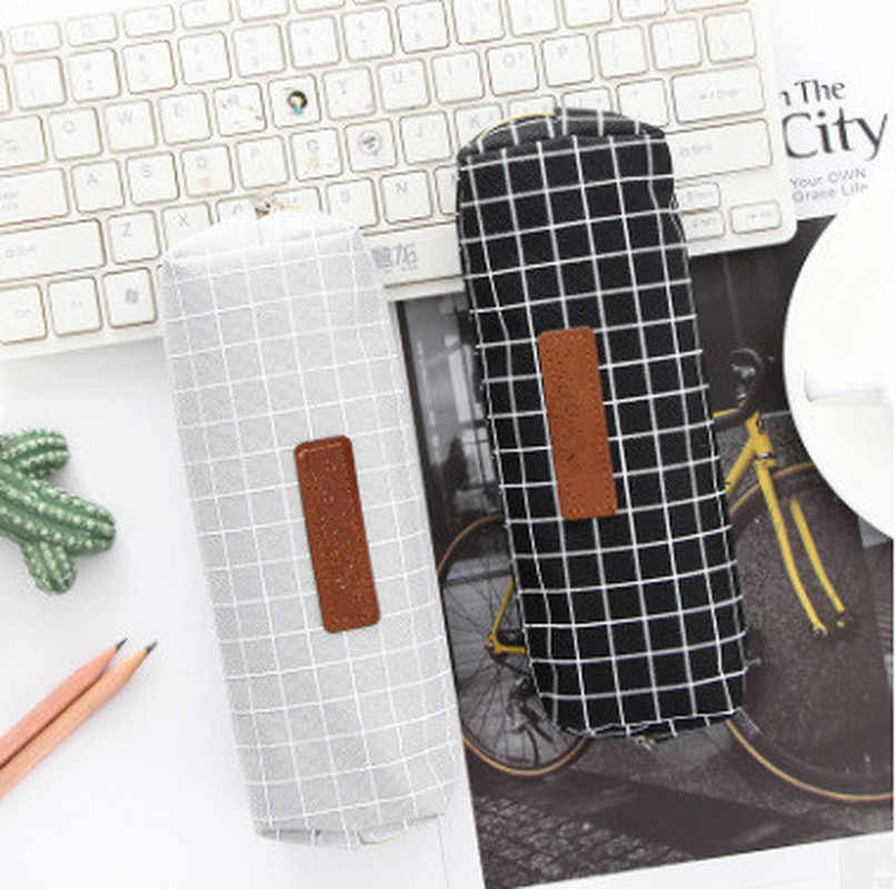Simples Xadrez Dot Cor Sólida Caixa de Lápis Da Lona Da Qualidade Pencilcase Material Escolar Bonito Papelaria Escola Caixa de Lápis Caneta Sacos