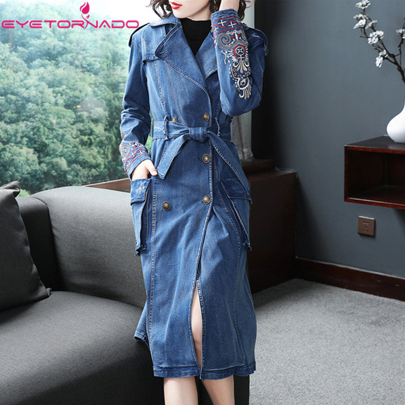 Jeans Trench Vintage Long-Sleeve Autumn Double-Breasted Cotton Women New Solid Denim