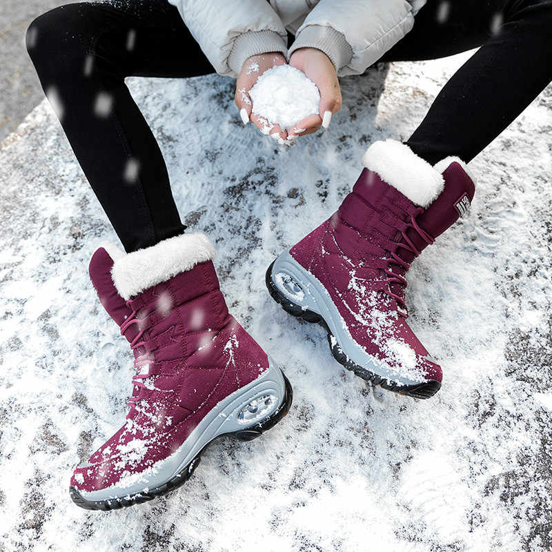 PINSEN yeni kış kadın çizmeler yüksek kaliteli sıcak tutmak orta buzağı kar botları kadınlar dantel-up rahat bayanlar çizmeler chaussures femme