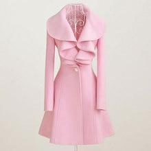 Шерстяное пальто для женщин осень зима наряд новые элегантные женские шерстяные тканевые пальто длинные плиссированные меховые пальто