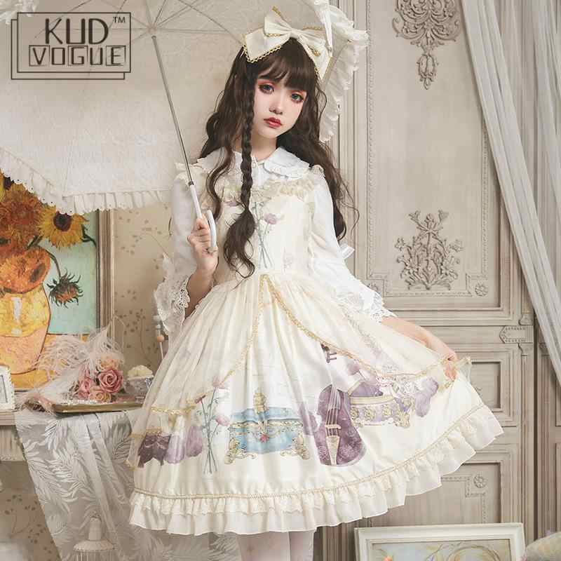Sweet Lolita Dress Kawaii Girl Vintage Printing Victorian Gothic Sleeveless Palace Dress Midi Party Retro Black Chiffon Dresses
