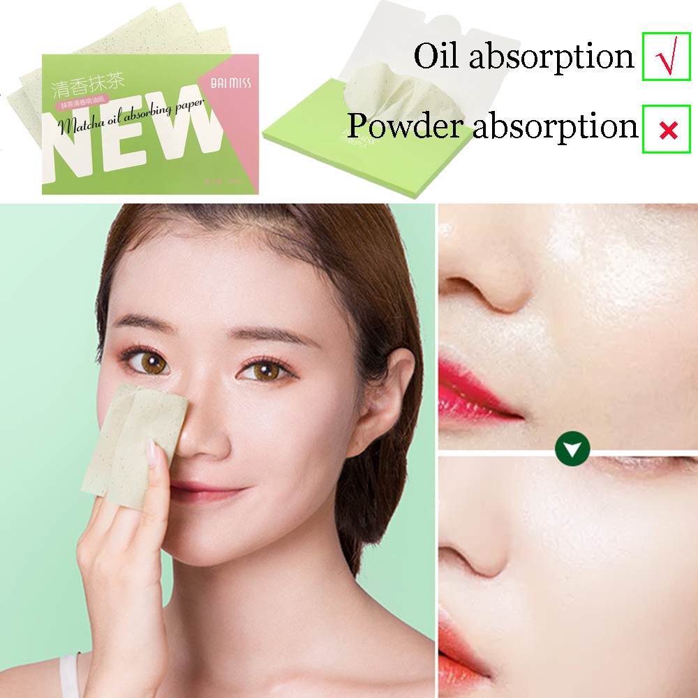100sheets/pack Absorbent Paper Oil Control Wipes Makeup Cleansing Summer Blotting Facial Oil Shrink Pore Face Cleaning Tool image