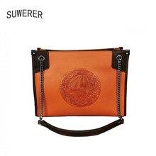 SUWERER 2020 New Women Genuine Leather bag fashion real cowhide bag Luxury handbags women famous brand leather bag Embossed bag стоимость