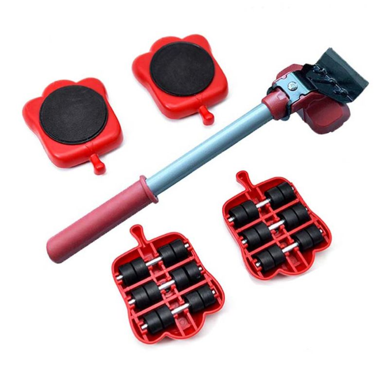 5Pcs Professional Furniture Mover Tool Set Heavy Stuffs Transport Lifter Wheeled Mover Roller with Wheel Bar Moving Hand Device-0