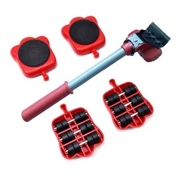 5Pcs Professional Furniture Mover Tool Set Heavy Stuffs Transport Lifter Wheeled Mover Roller with Wheel Bar Moving Hand Device