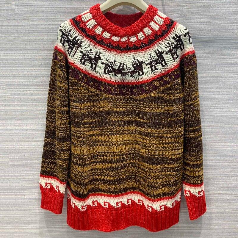 Dicken Pullover Frauen Winter Weihnachten Pullover Langarm Casual Pullover Strickwaren - 2