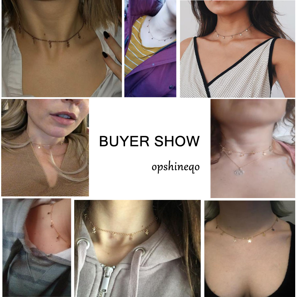 Boho Gold Color Star Pendant necklace For Girl chain necklaces for women Kolye Bijoux Collares Mujer