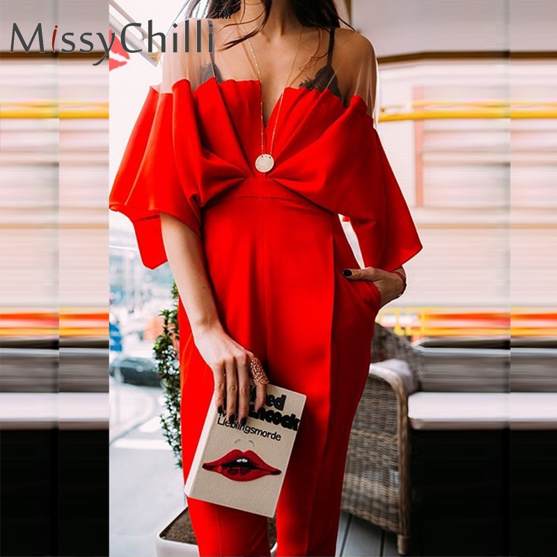 MissyChilli Red Patchwork Pleated Jumpsuit Women Fashion Sexy Jumpsuit Romper Female Vintage V Neck  Long Playsuit Overalls