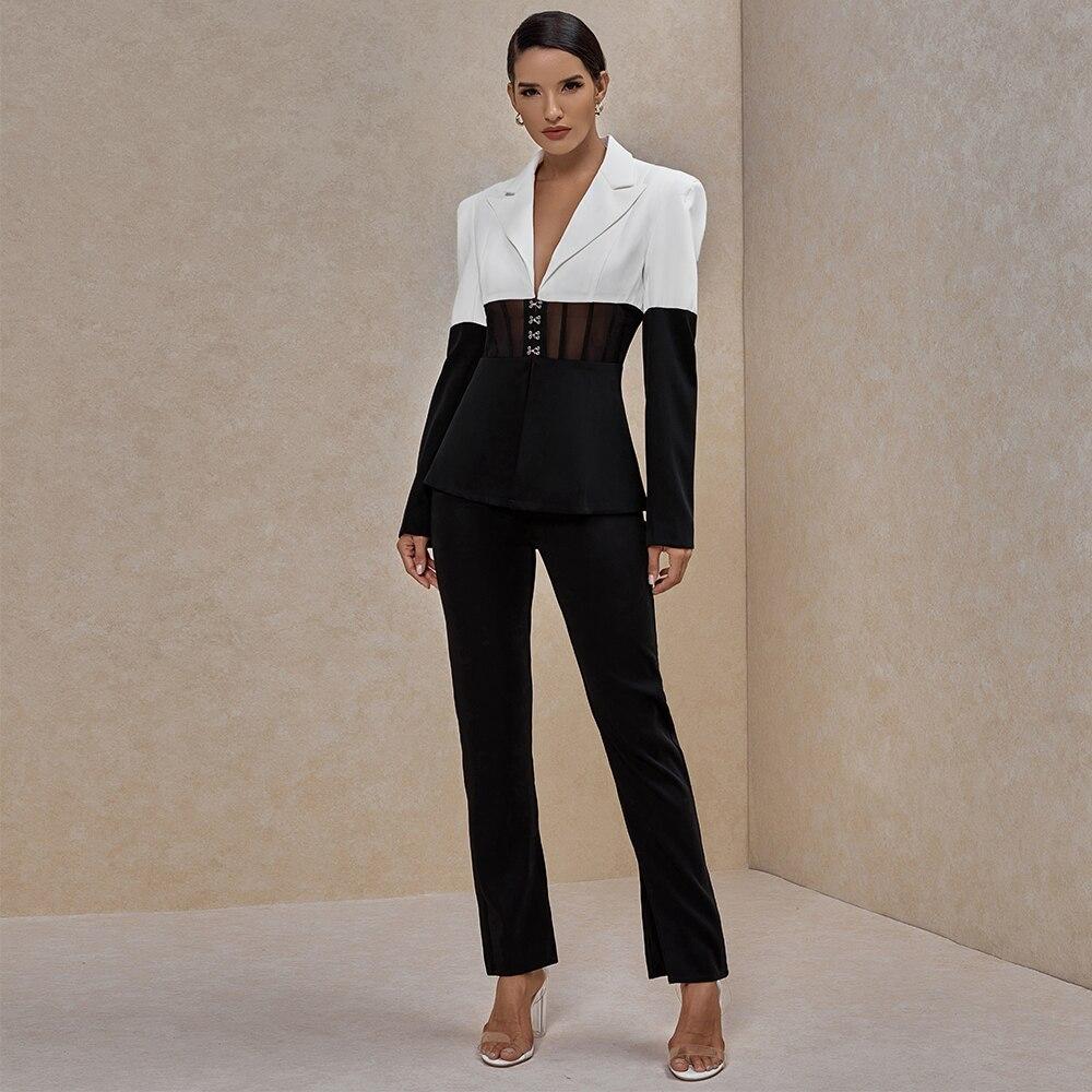 Ocstrade, conjunto de dos piezas de las mujeres traje de chaqueta y pantalones Club de dos piezas trajes de pista ropa de Otoño de 2020 blanco y negro 2 piezas
