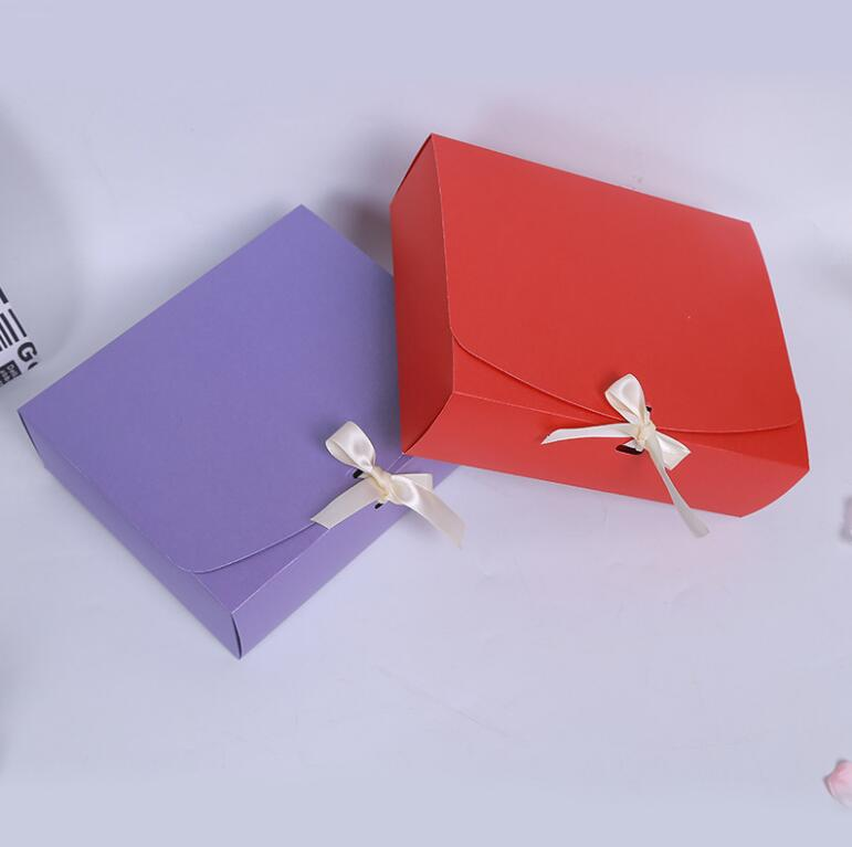 24.5x20x7cm Large Pink red purple paper gift box with ribbon wedding favor birthday party gift packaging paper box big size - 4