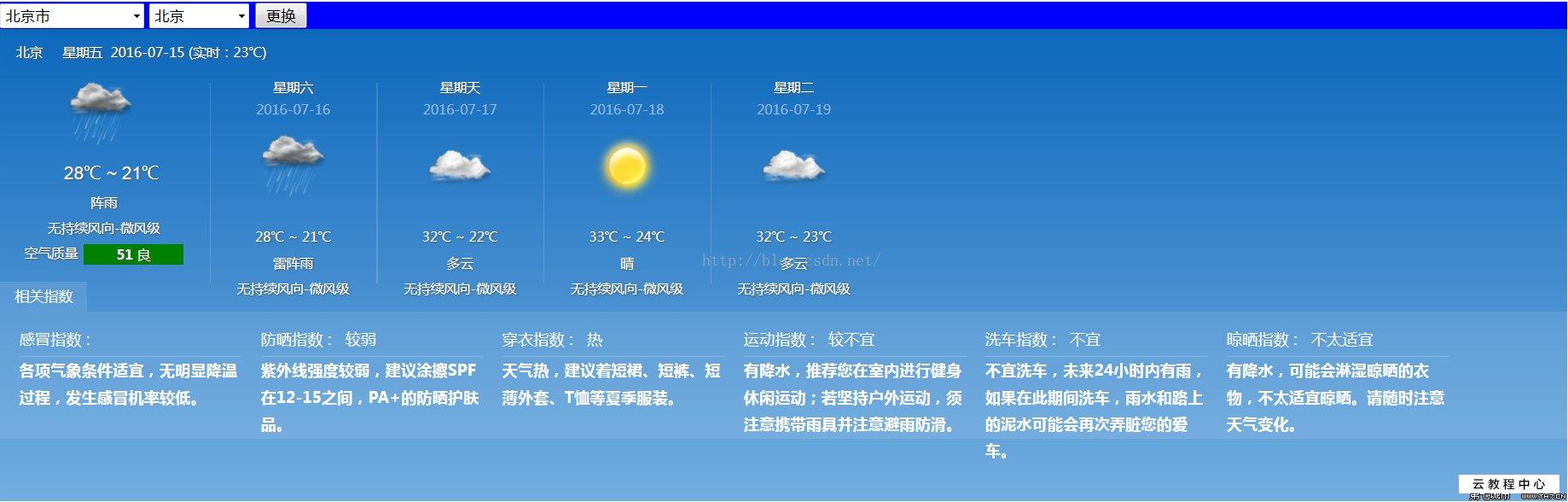 一元源码:java实现天气预报