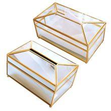Европейский стиль металлическое зеркало коробка для салфеток геометрический полотенце контейнер для салфеток держатель автомобиля украшение дома
