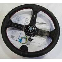 탑 레이싱 14 인치 350mm 딥 블랙 레드 라인 표류 스티어링 휠/가죽 스티어링 휠