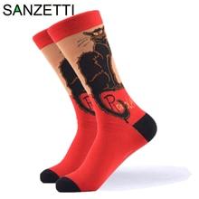 SANZETTI 1 Pair New Happy Socks High Quality Gift Men's Colorful Comfortable Com