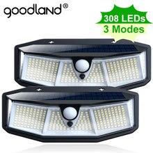 Lampe solaire d'extérieur à 308 led Goodland avec détecteur de mouvement en cèdre, imperméable, éclairage de rue, luminaire décoratif, idéal pour un jardin, 1 pièce