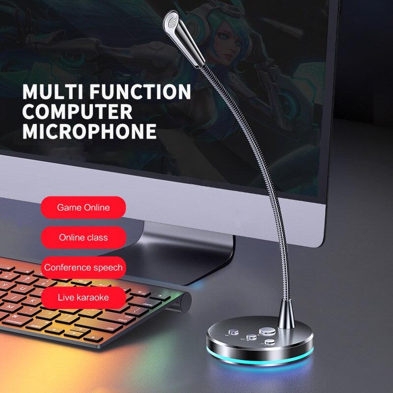 Высококачественный компьютерный микрофон, регулируемый на 360 °, Студийный микрофон для речи, игровой USB-микрофон для общения, настольного ПК...